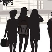 Silhouette of students